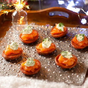 Beetroot Blinis with Smoked Salmon Crème Fraiche and Dill