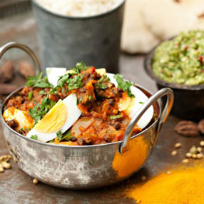Curried Eggs with Lentils