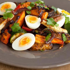 Harrisa Roasted Sweet Potato, Vegetable and Egg Salad