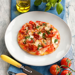 Pizza Pancake with Tomato, Parma Ham and Mozarella
