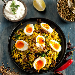 Smoked Haddock Kedgeree with British Blue Eggs