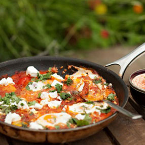Turkish Baked Eggs with Feta and Mint