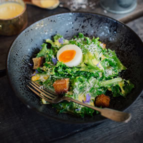 British Blue Egg Caesar Salad