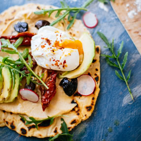 British Blue Egg Flatbread with Avocado and Hummus