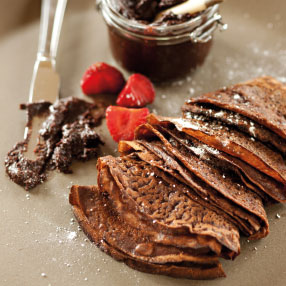 Chocolate Pancakes with Homemade Chocolate Nut Spread