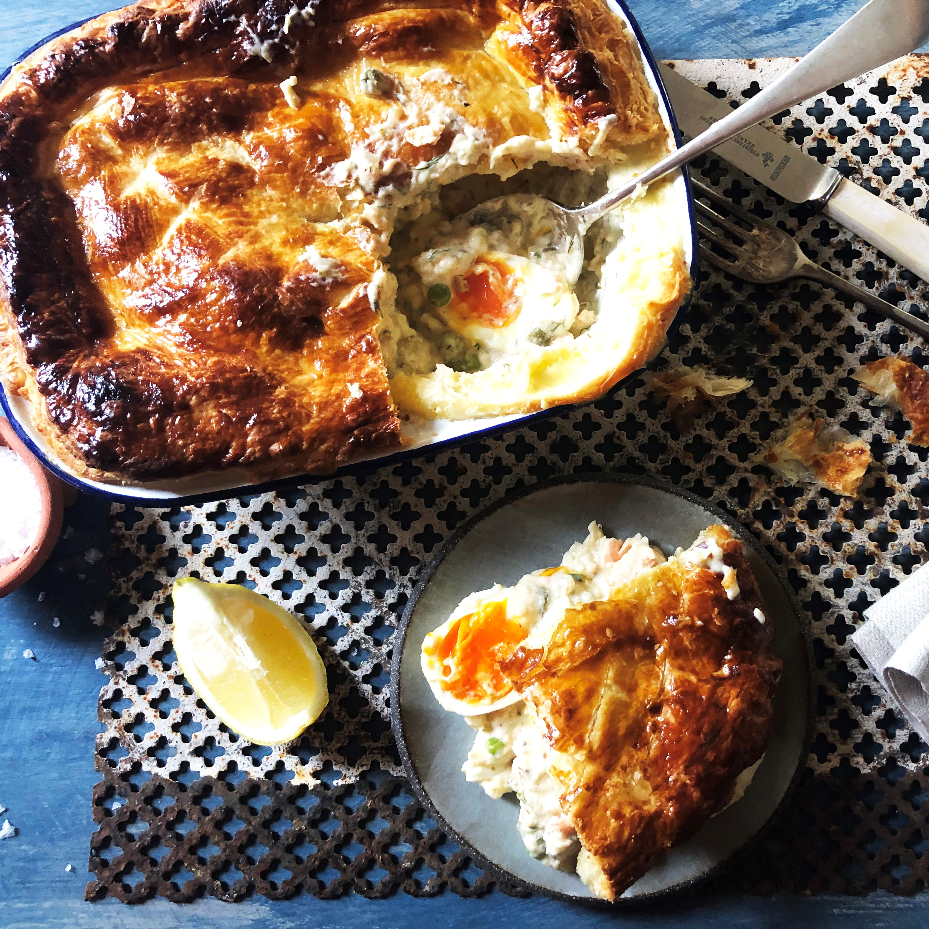 Salmon, Prawn and British Blue Egg Fish Pie with Puff Pastry Top